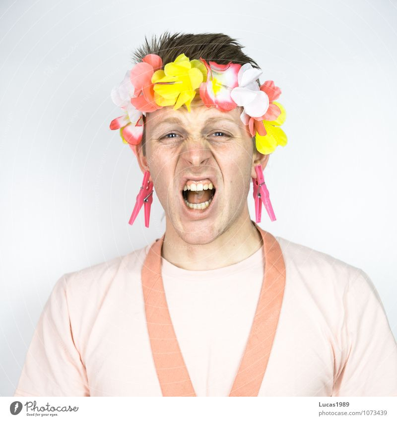Color Study - Pink Pain Human being Masculine Young man Youth (Young adults) Man Adults 1 18 - 30 years T-shirt Tie Kimono Flower necklace Blonde Short-haired