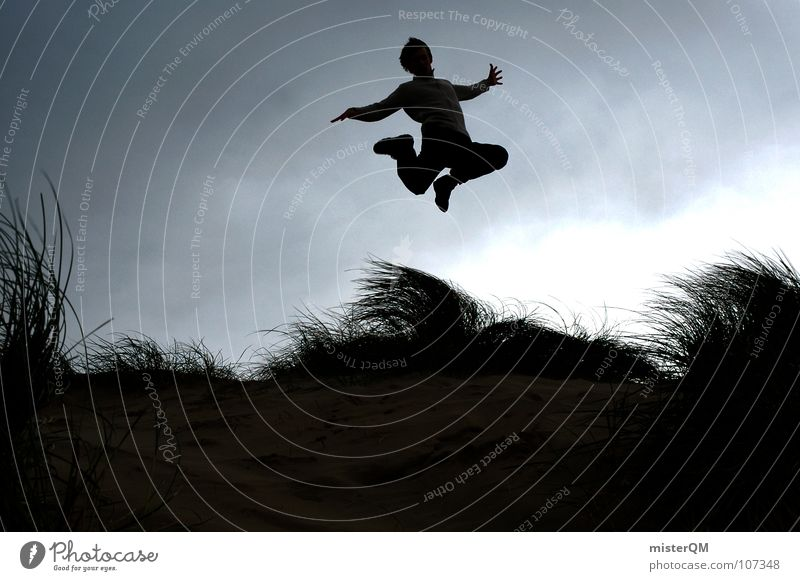 touch-and-go Jump Future Vacation & Travel Youth (Young adults) Recklessness Career Silhouette Clouds Calm Wind Grass Tall Background picture Foreground South