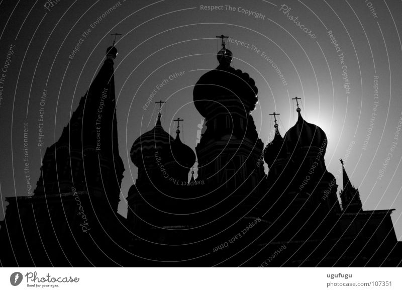 St. Basil's Silhouette House of worship Moscow Shadow Domed roof Red Square Famous building Famousness Back-light Black & white photo Spire Historic