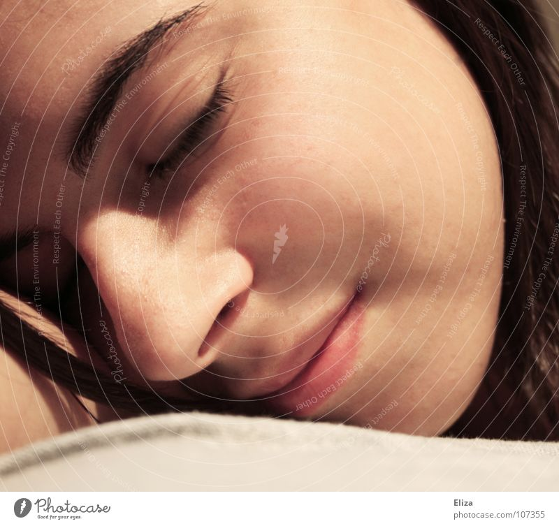 Face of a relaxed young woman portrait Sleep Dream Closed eyes Woman Harmonious Delicate Soft Wellness Lie Doze Contentment Strand of hair Relaxation Bed