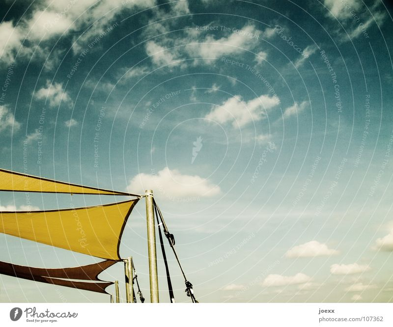Sky Blue Summer Clouds Yellow Warmth Air Leisure and hobbies Physics Cloth Easy Beautiful weather Electricity pylon Ease Sail Heavenly