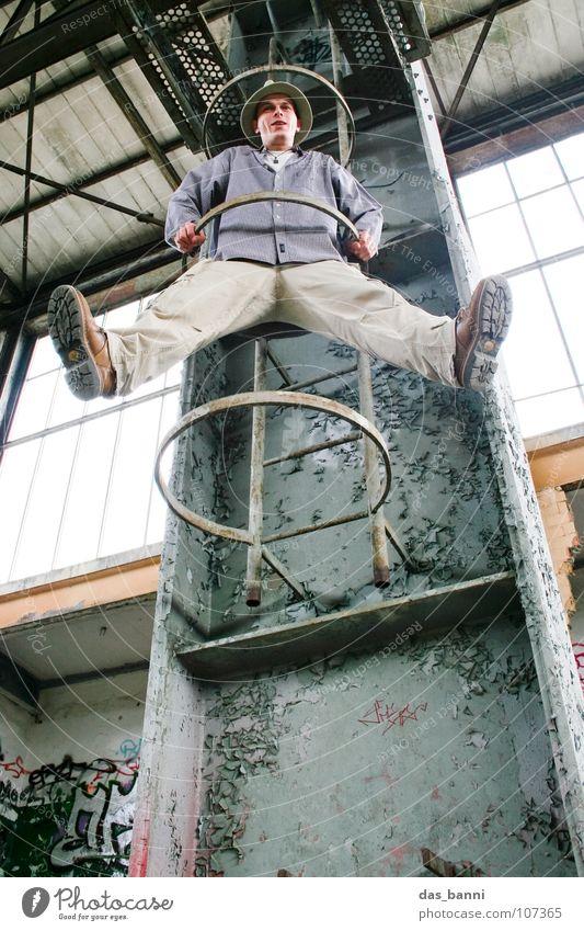 White Gray Building Funny Power Beginning Crazy Serene Hang Ladder Warehouse Freak Go up Joke Absurdity Aspire
