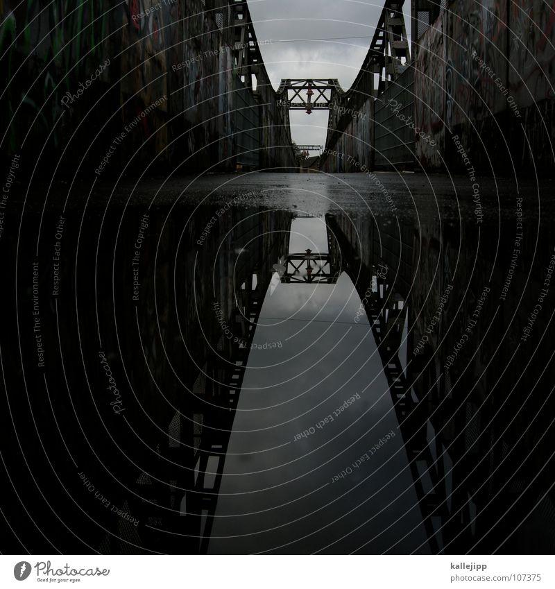 Dark Bridge Construction Puddle Mirror image Surface of water Water reflection Suspension bridge Water puddle Steel bridge