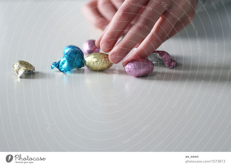 nibble Food Candy Chocolate chocolate eggs Nutrition Eating Diet Easter Child Infancy Fingers Touch Authentic Glittering Small Sweet Multicoloured Self Control