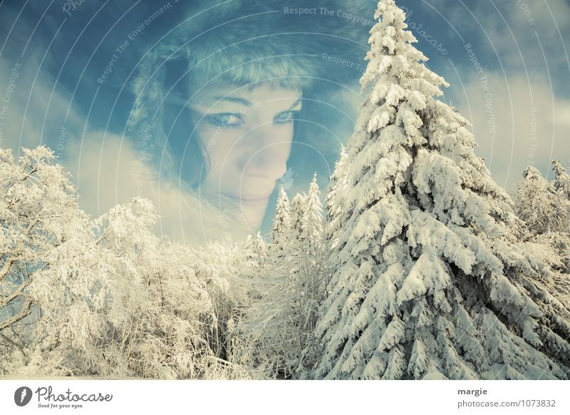 A portrait of a woman in the winter forest Relaxation Vacation & Travel Freedom Winter Snow Winter vacation Hiking Human being Feminine Young woman
