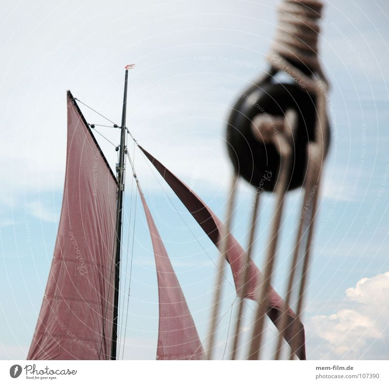 Sky Sun Ocean Blue Red Summer Brown Rope 4 Sailing Navigation Electricity pylon Darss Sailboat Knot