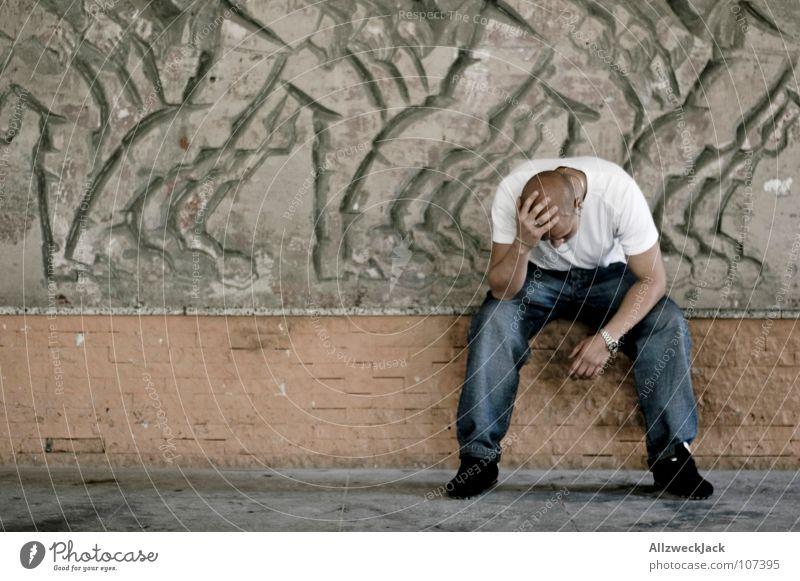 Headache {m} = headache Distress Man Masculine Think Grief Loneliness Fear Panic Feeble Pain migraine Futile Sit ponder