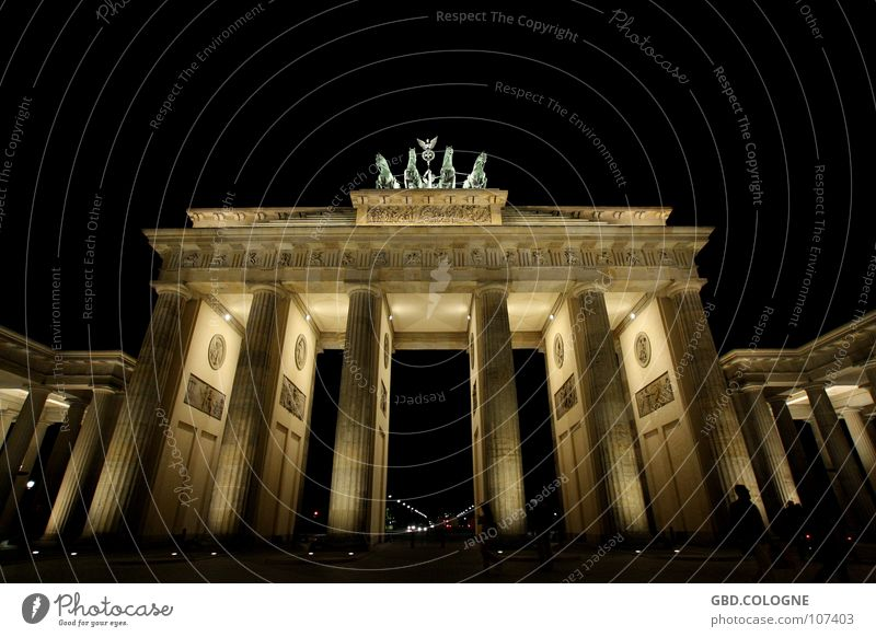 Sky Blue Berlin Art Historic Landmark Monument Tourist Attraction Statue Night shot Long exposure Nike Brandenburg Gate Pariser Platz Symbol of the state