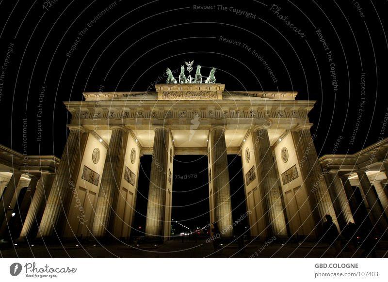 Sky Blue Berlin Art Historic Landmark Monument Tourist Attraction Statue Night shot Long exposure Nike Brandenburg Gate Pariser Platz Symbol of the state
