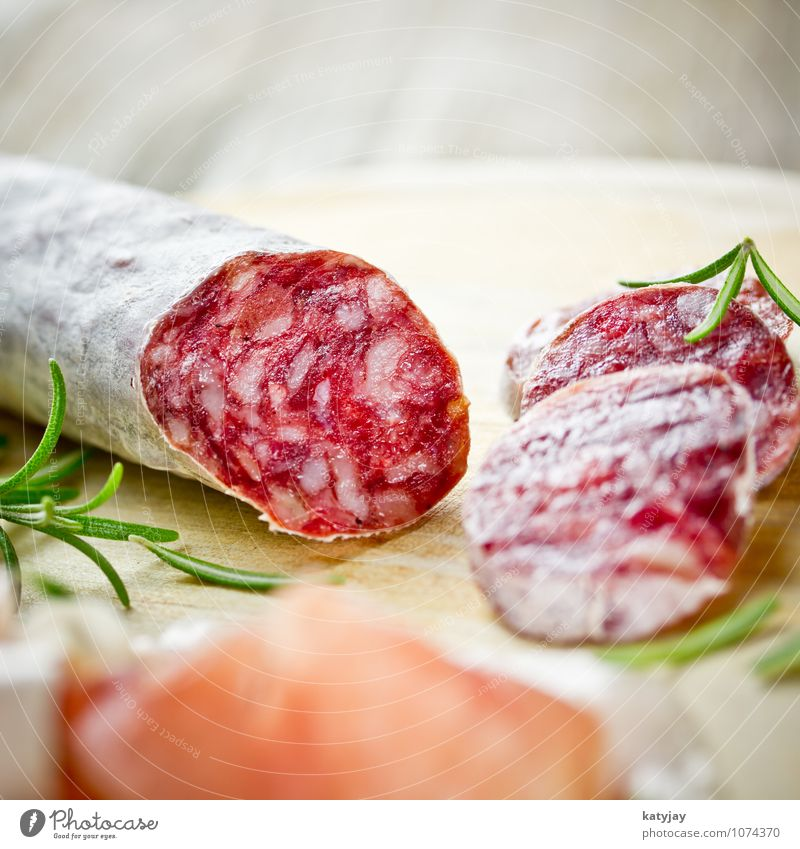 salami Salami Ham Sausage Rosemary Hard Breakfast Bacon Parma ham Pork Fat Meat Sliced Italy Italian Food Herbs and spices Meal Dinner disk Plate Snack bar