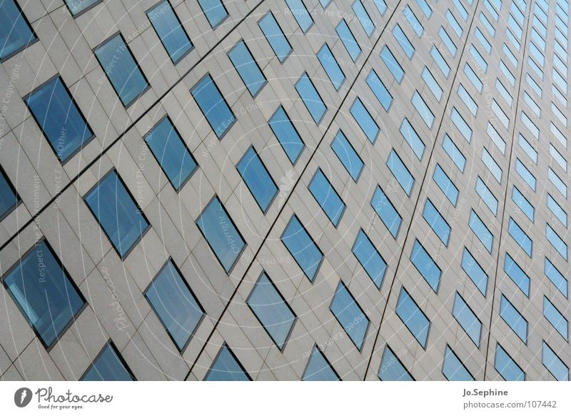 skyscraper geometry High-rise built Architecture Wall (barrier) Wall (building) Facade Window Concrete Glass Line Sharp-edged Modern Town Blue Gray Equal