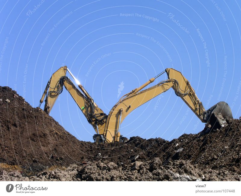 Sky Sand Earth Power Force In pairs Multiple Construction site Machinery Beautiful weather Flexible Teamwork Blue sky Lift Excavator Heavy