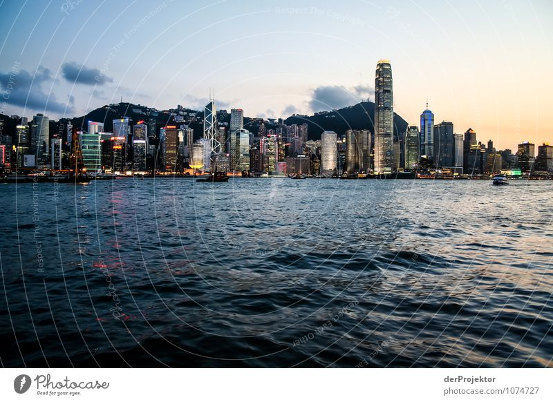 Blue hour in Hong Kong with skyline Vacation & Travel Tourism Trip Adventure Sightseeing City trip Environment Summer Beautiful weather Capital city Port City
