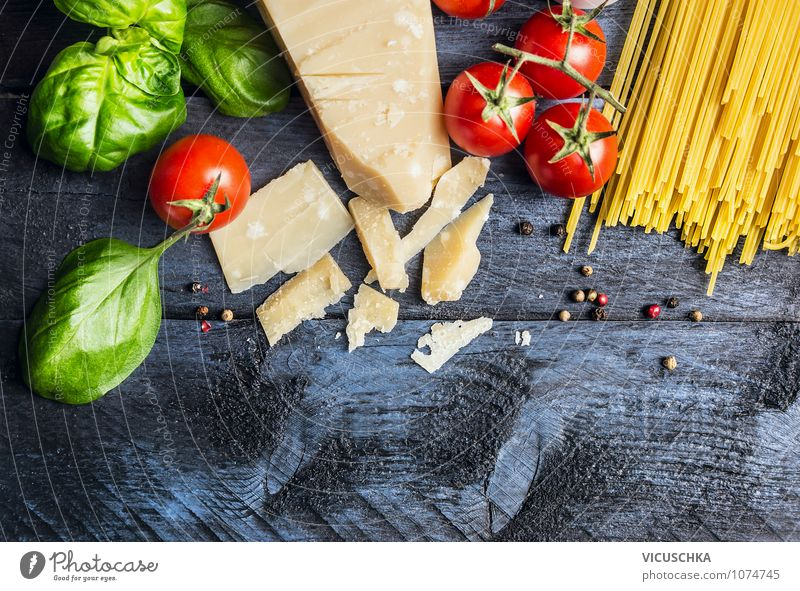Spaghetti ingredients for cooking Food Vegetable Dough Baked goods Herbs and spices Nutrition Lunch Organic produce Vegetarian diet Diet Italian Food Lifestyle