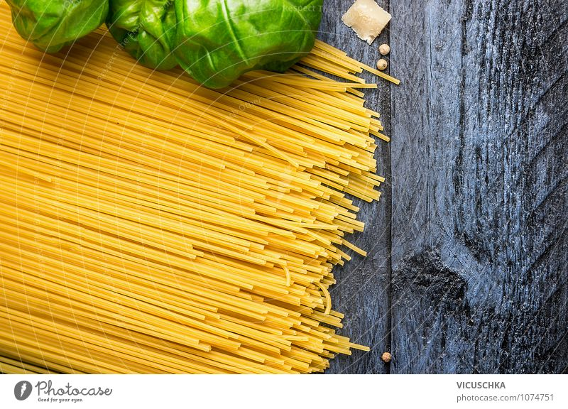 Spaghetti with basil on blue wooden table Food Dough Baked goods Herbs and spices Nutrition Lunch Banquet Italian Food Style Design Healthy Eating Table Kitchen