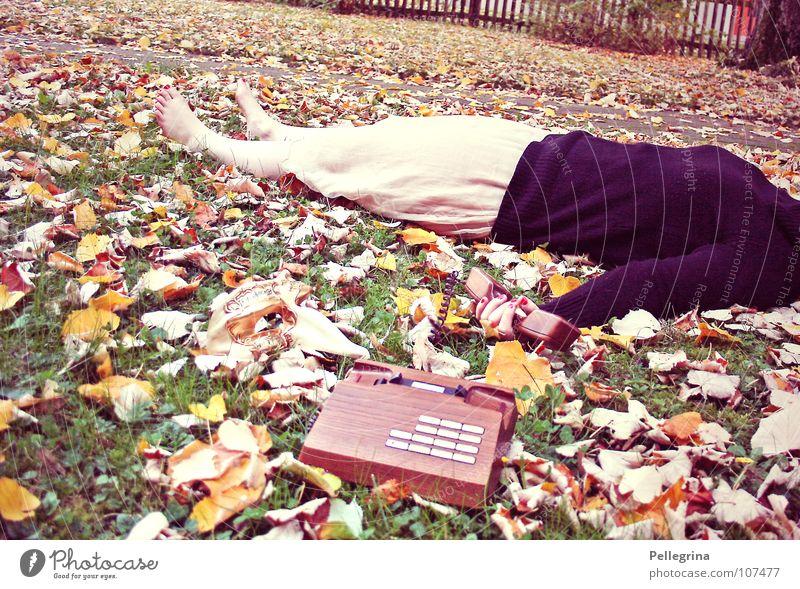 Woman Old Leaf Autumn Death Grass Wood Feet Brown Orange Gold Sleep Telephone Retro Dress Lie
