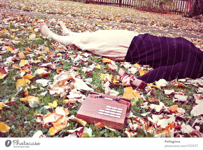 Woman Old Leaf Autumn Death Grass Wood Feet Brown Orange Gold Sleep Telephone Retro Dress Lie