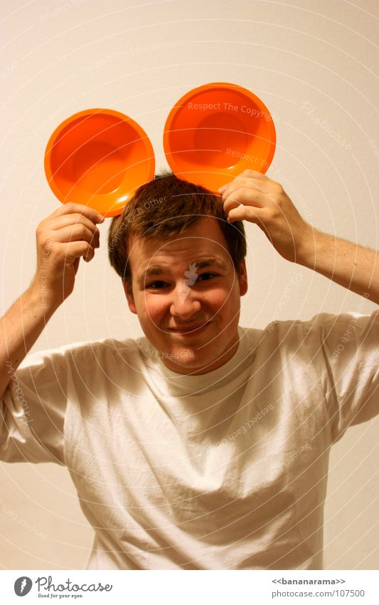 Man White Joy Face Laughter Orange Funny Birthday Grinning Comic Mug Skeptical Funster Headwear
