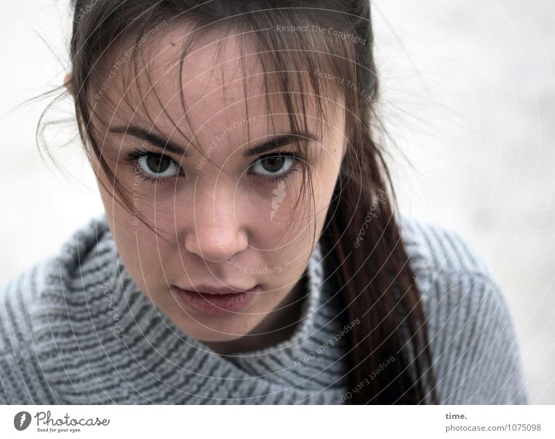 . Feminine Young woman Youth (Young adults) 1 Human being Sweater Brunette Long-haired Observe Think Looking Wait Beautiful Self-confident Trust Sympathy