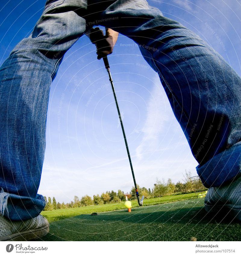Sky Man Blue Green Joy Sports Playing Grass Legs Lawn Ball Jeans Pants Golf Iron Golf course