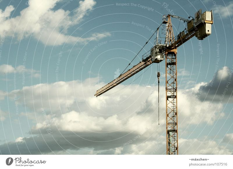 Sky Loneliness Clouds House (Residential Structure) Above Freedom Metal Work and employment Large Tall Free Rope Industry Construction site Technology Long