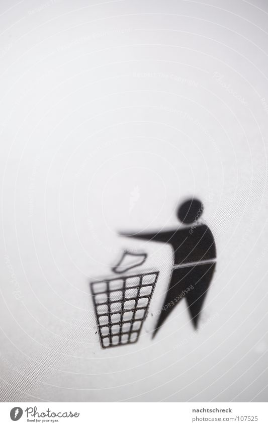 ditch Symbols and metaphors Icon Trash Throw away Wastepaper basket Trash container Recycling Gray Man Signage Dirty Human being Illustration