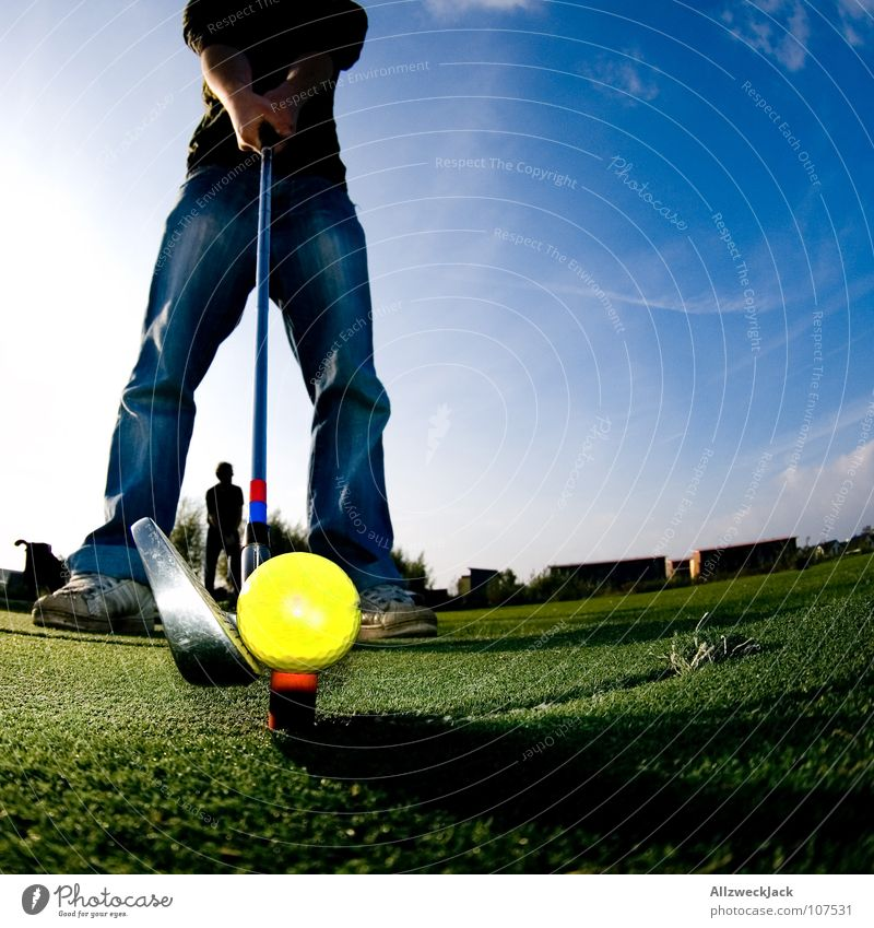 Sky Blue Green Joy Sports Playing Grass Legs Lawn Ball Jeans Concentrate Pants Golf Iron Golf course