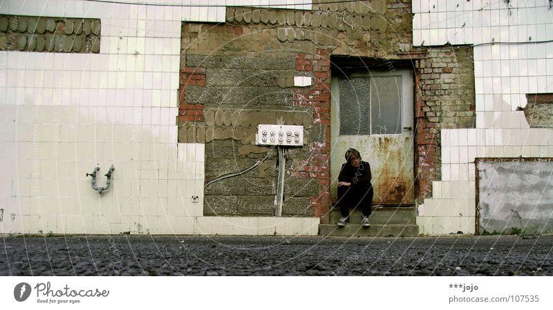 Man Calm Loneliness Think Door Dirty Wait Broken Transience Derelict Tile Shabby Ruin Guy Thought Self portrait