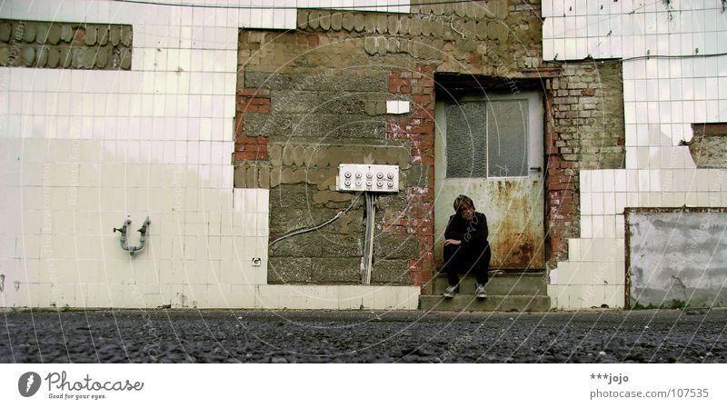 Sitting, Waiting, Wishing Man Loneliness Calm Dirty Ruin Broken Think Thought Self portrait Transience Derelict Shabby Damage