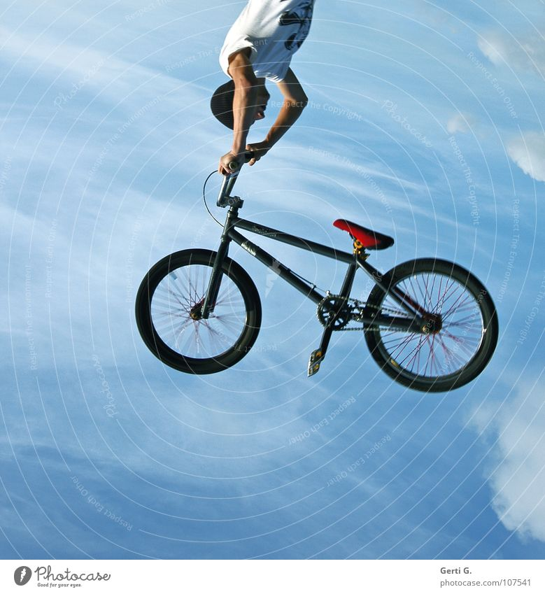 Sky Red Clouds Black Sports Movement Power Bicycle Arm Flying Dangerous Force Aviation Cool (slang) To fall To hold on