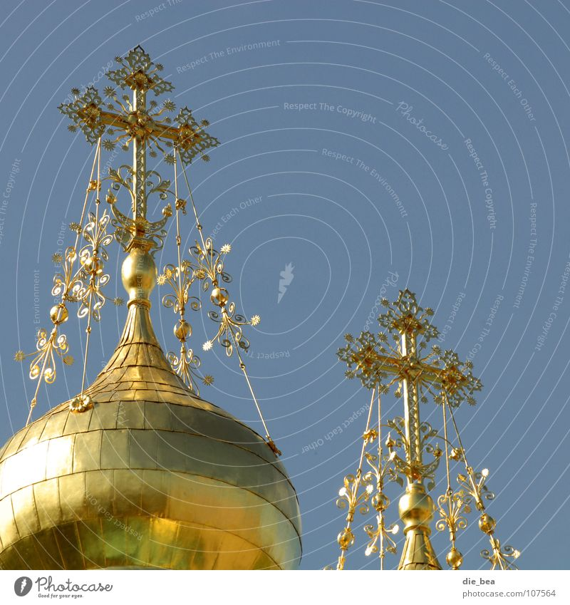 Sky Religion and faith Architecture Glittering Gold Back Roof Decoration Luxury Christianity Baroque Domed roof House of worship Splendid Ornate Bulky