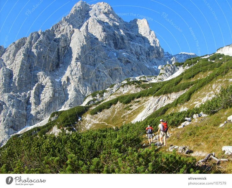 the long way to the pointed wall Green Mountaineer Hiking Footpath Stony Steep Idyll Rock Footwear Blue Blue sky dead mountains Effort Lanes & trails Stone