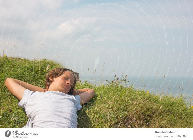 summer dreams Child Boy (child) Infancy Life 8 - 13 years Environment Nature Landscape Sky Clouds Horizon Summer Beautiful weather Grass Ocean Relaxation