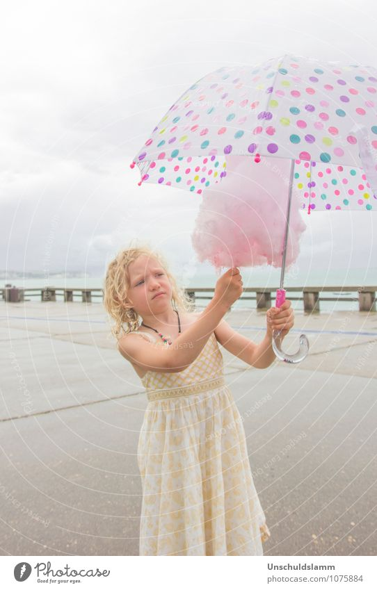 sugar protection Food Candy Cotton candy Sugar Nutrition Lifestyle Summer Human being Child Girl Infancy 3 - 8 years Clouds Rain Umbrella Carrying Sadness Cute
