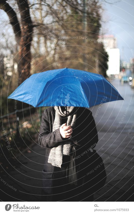 Human being Woman Nature Blue Tree Winter Environment Adults Life Autumn Feminine Lanes & trails Rain Weather Climate Wet