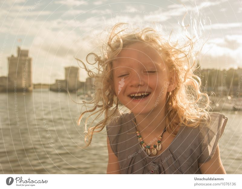 Happy forever Lifestyle City trip Summer Sunbathing Human being Child girl Infancy 3 - 8 years Wind La Rochelle Blonde Curl smile Laughter Happiness luck Gold