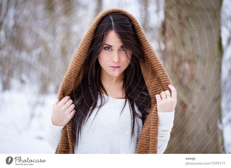 cape Feminine Young woman Youth (Young adults) 1 Human being 18 - 30 years Adults Winter Scarf Beautiful White Hooded (clothing) Colour photo Exterior shot Day
