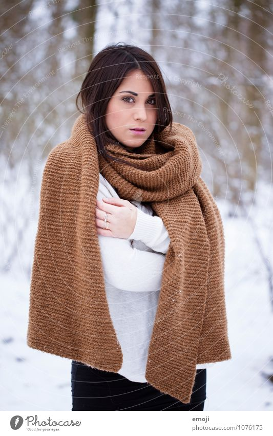 white Feminine Young woman Youth (Young adults) 1 Human being 18 - 30 years Adults Winter Snow Scarf Beautiful Cold Natural White Colour photo Exterior shot Day