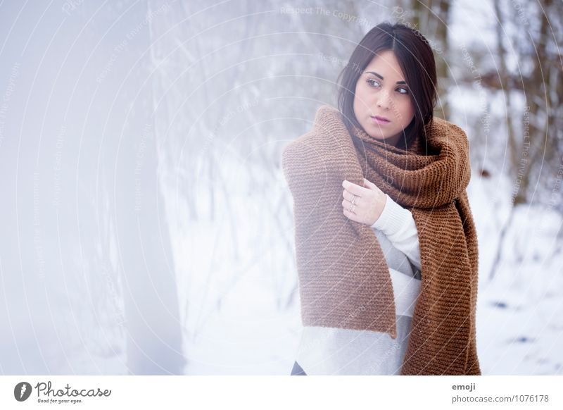 winter Feminine Young woman Youth (Young adults) 1 Human being 18 - 30 years Adults Environment Nature Landscape Winter Snow Scarf Brunette Beautiful Uniqueness