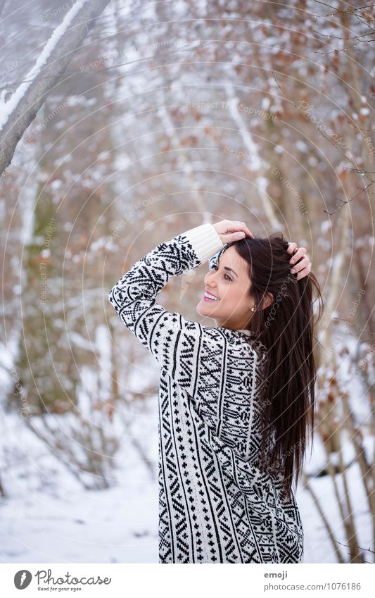 happy Feminine Young woman Youth (Young adults) 1 Human being 18 - 30 years Adults Environment Nature Winter Snow Brunette Long-haired Happiness Happy Beautiful