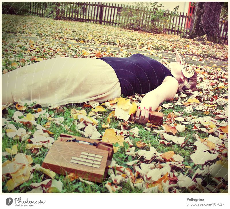 ...and then she dropped dead... Sleep Leaf Autumn Grass Dress Beige Brown Telephone Wood Retro Woman Top Black Macabre Carnival Death Lie Orange Old To fall
