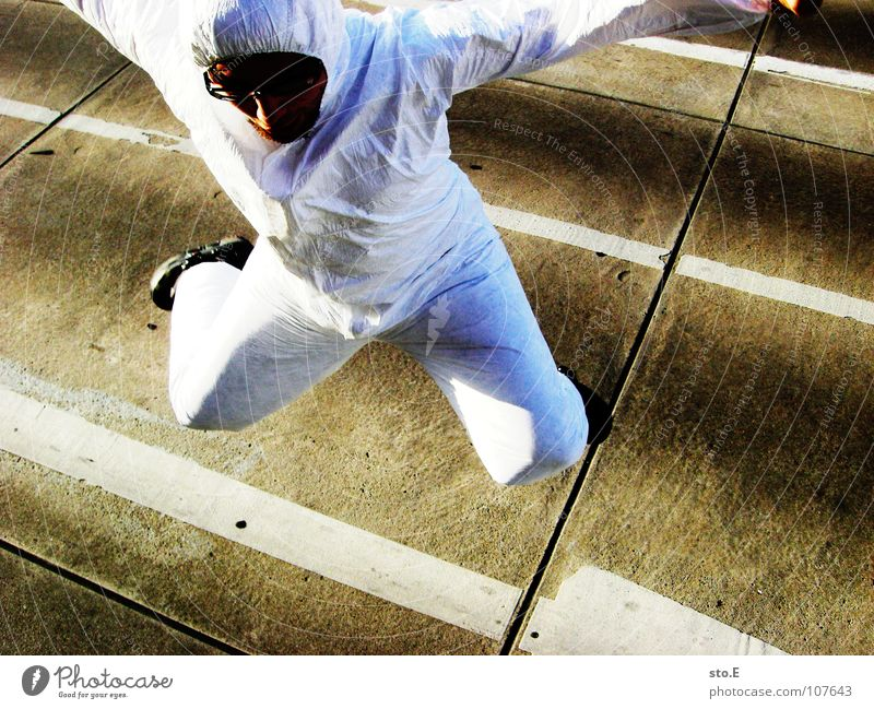 Human being White Joy House (Residential Structure) Street Building Jump Think Signs and labeling Success Places Action Stripe Safety Cleaning