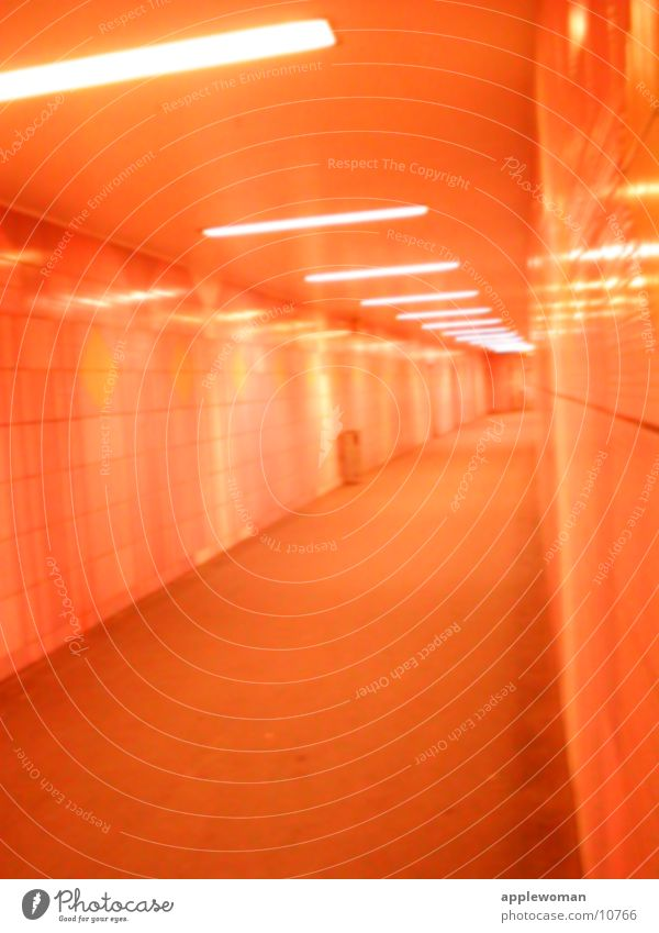 Red Architecture Orange Empty Tunnel Escape Corridor