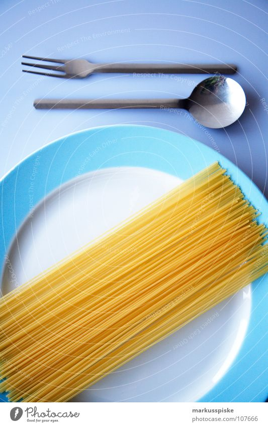 raw today Noodles Spaghetti Dough Rod Long Thin Cutlery Spoon Fork Plate Edge White Baby blue Yellow Round Nutrition Crockery