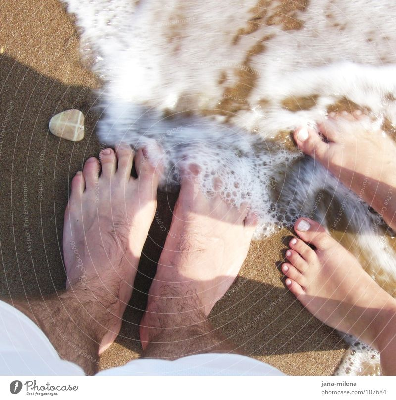 Nature Water Sun Vacation & Travel Ocean Summer Beach Calm Movement Sand Stone Legs Couple Feet Waves Together
