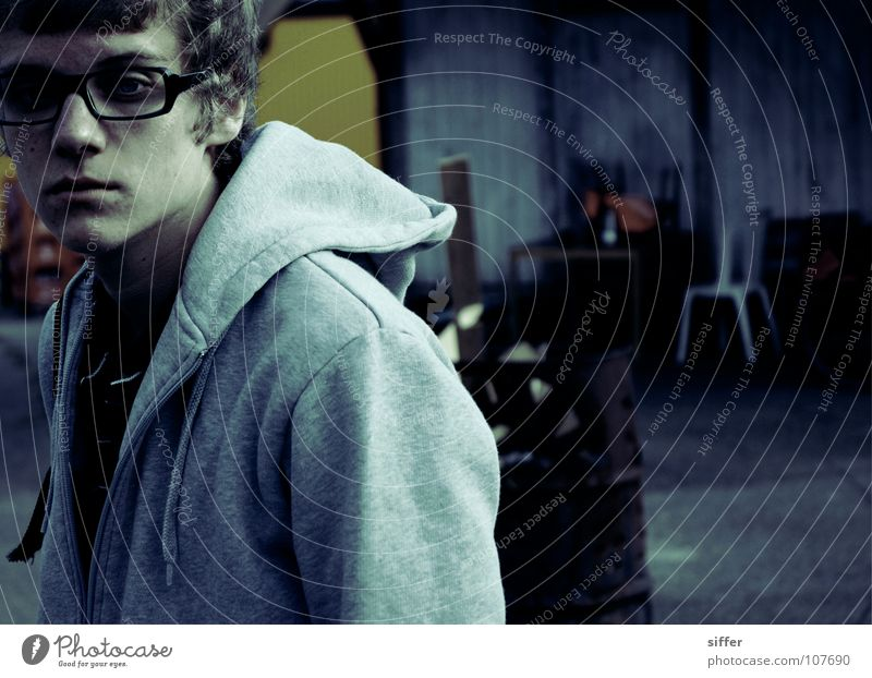 Man Youth (Young adults) Blue Loneliness Black Colour Gray Sadness Blonde Walking Action Broken Cool (slang) Gloomy Eyeglasses Chair