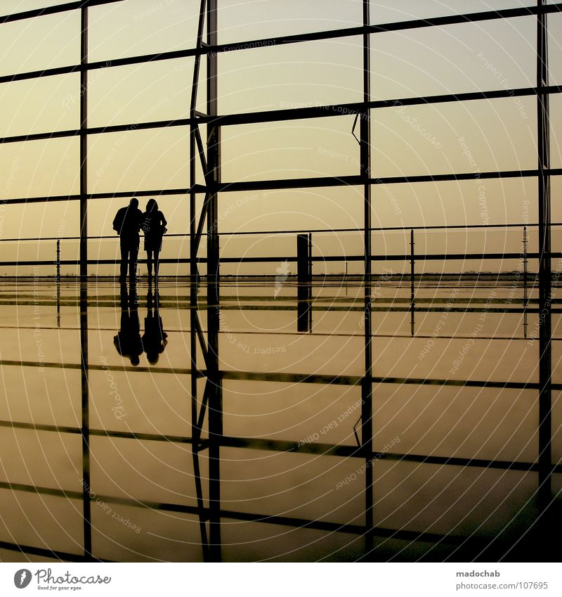 6 TWO TOGETHER Silhouette Human being Man Woman Life Reflection Wall (building) Sky Longing Wanderlust Moody Spatial impression Traveling Vacation & Travel