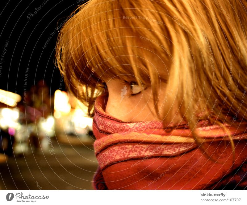Woman Youth (Young adults) Beautiful Red Face Yellow Cold Pink Wait Longing Mysterious Friendliness Hide Freeze Scarf Red-haired