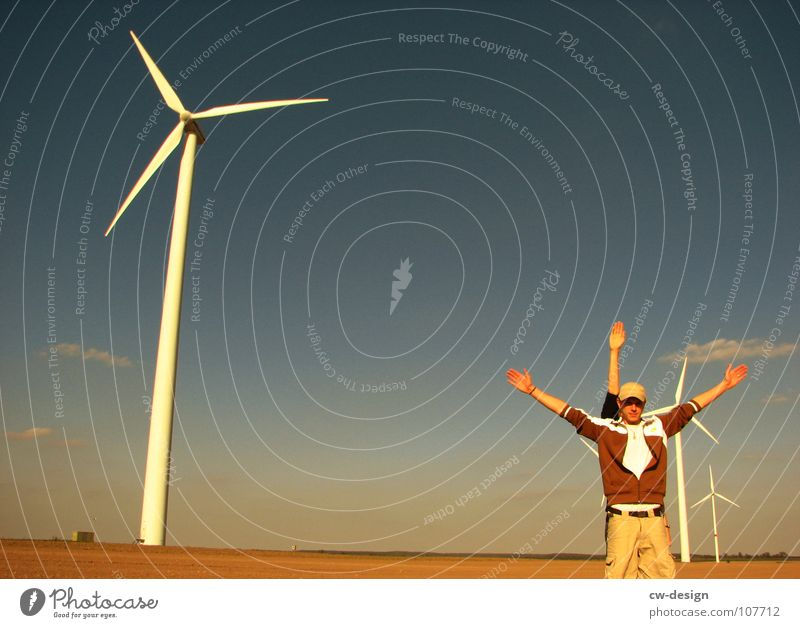 the imitation Wind energy plant Propeller Renewable Ecological Eco-friendly Technology Environmental pollution Industrial district Blue sky Deface Engines
