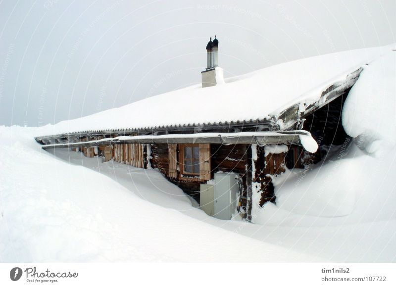 Snowed in in a lonely mountain hut Austria House (Residential Structure) Alpine hut Winter Vacation & Travel Winter vacation Sanddrift Snowscape Cold Snowstorm
